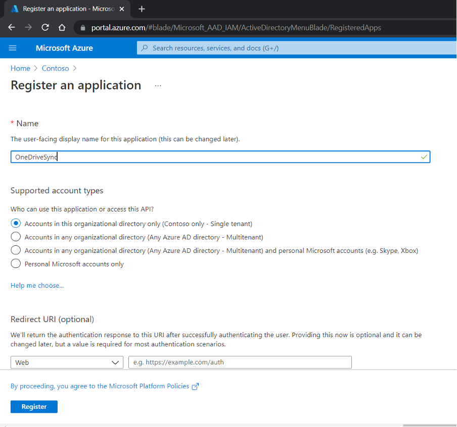 OneDrive ClientId Step 5