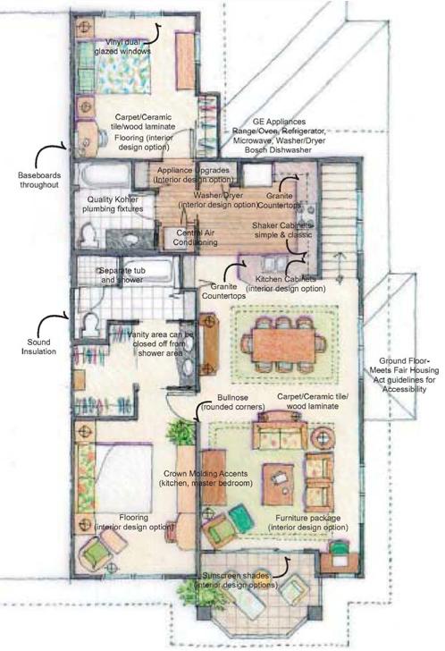 2 bedroom floor plan of a Kai Lani home. All 2 bedrooms 1,244 sq. ft.