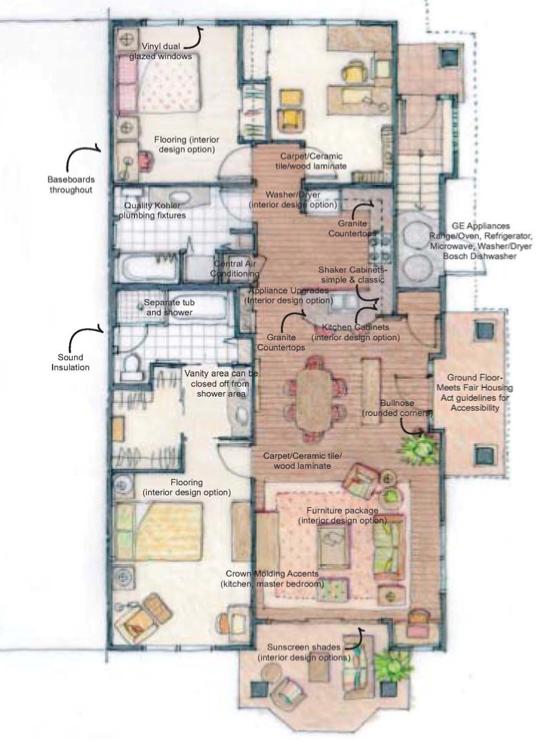 3 bedroom floor plan of a Kai Lani home. All 3 bedroom homes 1,320 sq. ft.