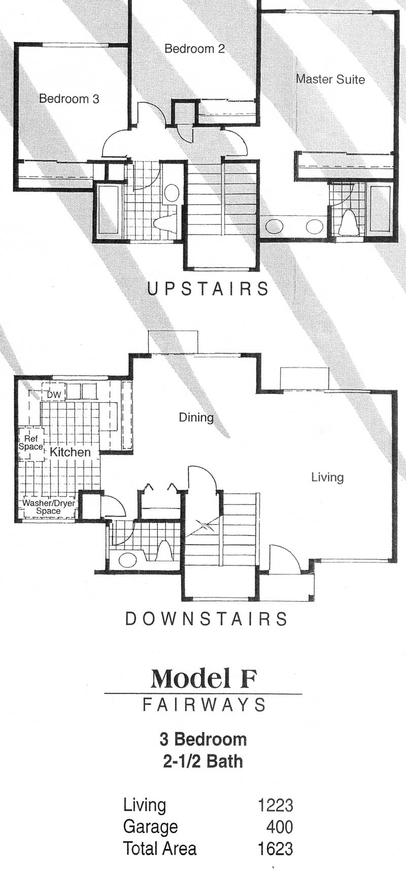 Model F - Fairways 3 bedroom / 2-1/2 bath Living - 1,223 sq. ft. Garage - 400 sq. ft. Total Area - 1,623 sq. ft.