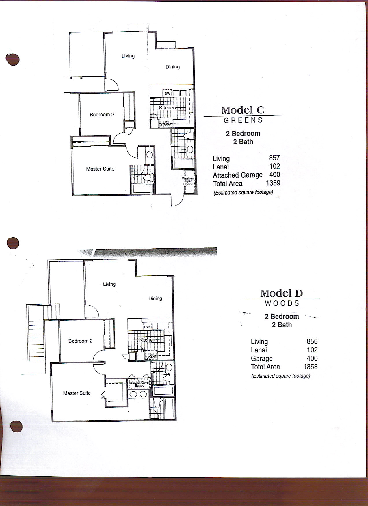 Model C - Greens 2 bedroom / 2 bathroom Living - 857 sq. ft. Lanai - 102 sq. ft. Attached Garage - 400 sq. ft. Total Area - 1,359 sq. ft. Model D - Woods 2 bedroom / 2 bathroom Living - 856 sq. ft. Lanai - 102 sq. ft. Garage - 400 sq. ft. Total Area - 1358 sq. ft.