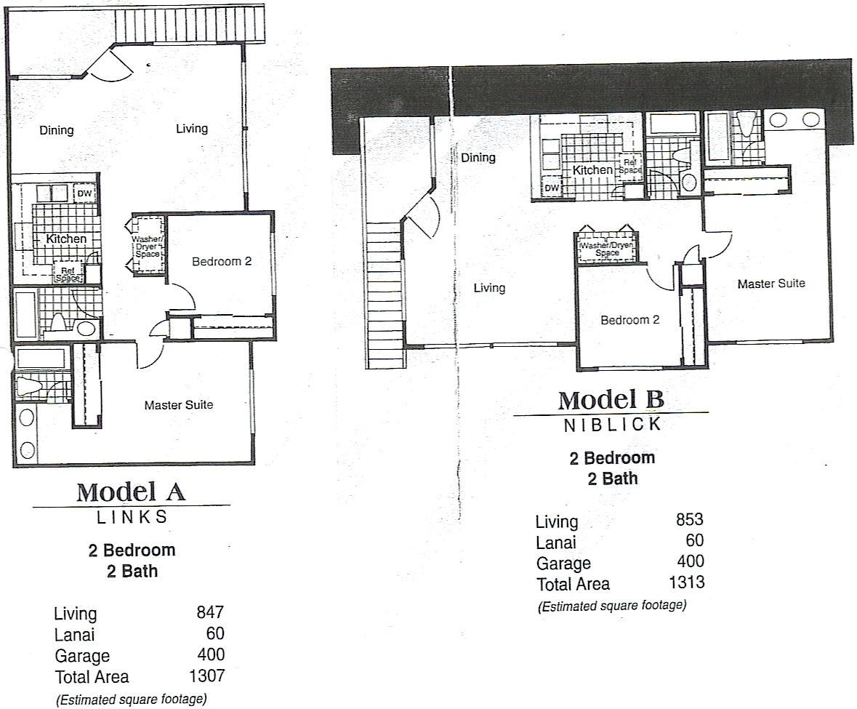 Model A - Links 2 bedroom / 2 bathroom Living - 847 sq. ft. Lanai - 60 sq. ft. Garage - 400 sq. ft. Total Area - 1,307 sq. ft. Model B - Niblick 2 bedroom / 2 bathroom Living - 853 sq. ft. Lanai - 60 sq. ft. Garage - 400 sq. ft. Total Area - 1,313 sq. ft.
