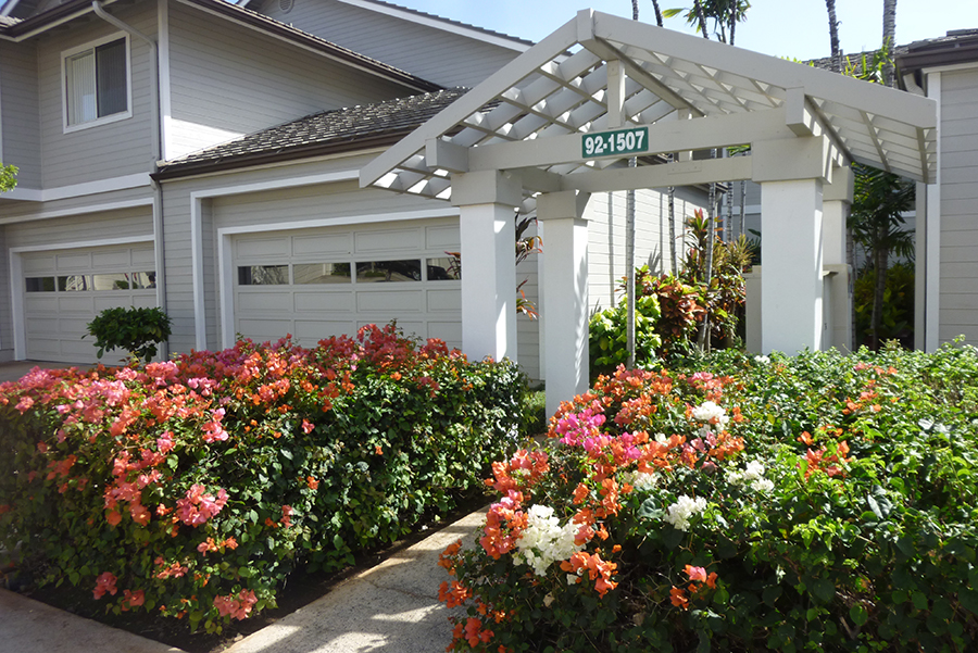 Beautiful entrance walkway in front of a town home in The Fairways.