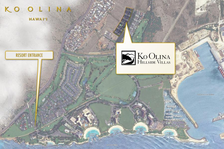 Ko Olina Hillside Villas location from an overhead view