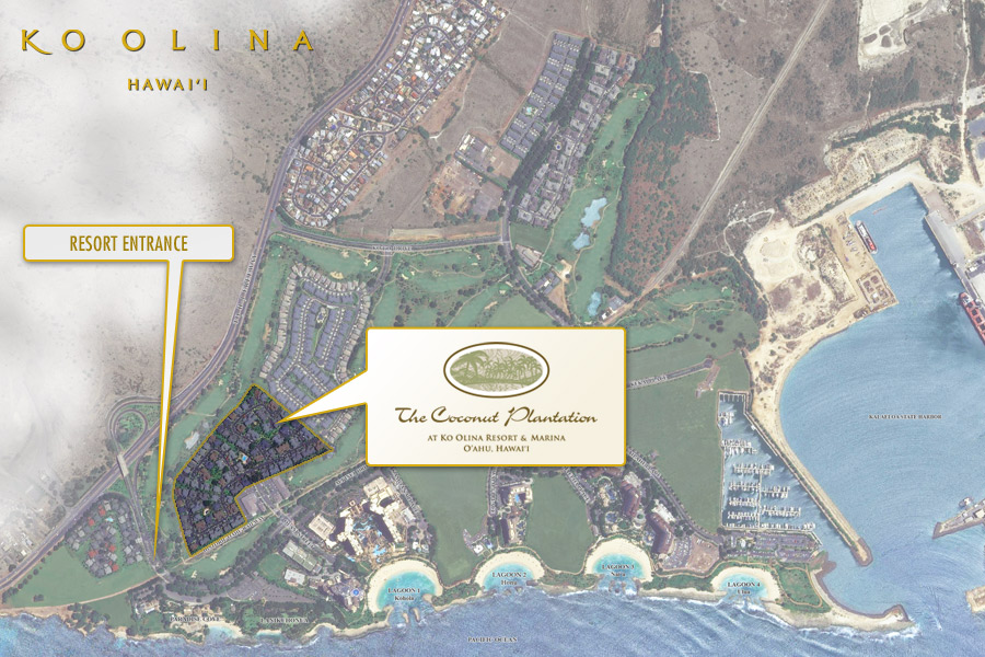 Satellite image of The Coconut Plantation in relation to the rest of Ko Olina.