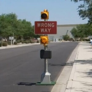 Wrong Way Flashing Sign