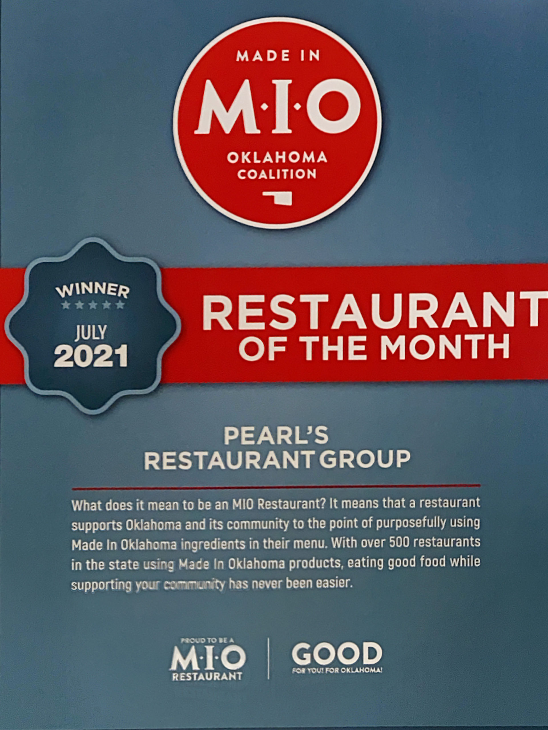 PRG WINS MIO Restaurant of The Month!