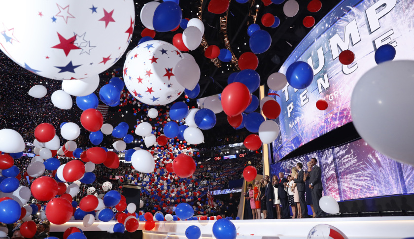 Balloons fall as Republican U.S. presidential nominee Donald Trump and vice