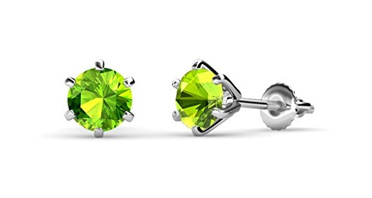 Peridot Six Prong Martini Solitaire Stud Earrings 2.20 ct tw in 14K White Gold