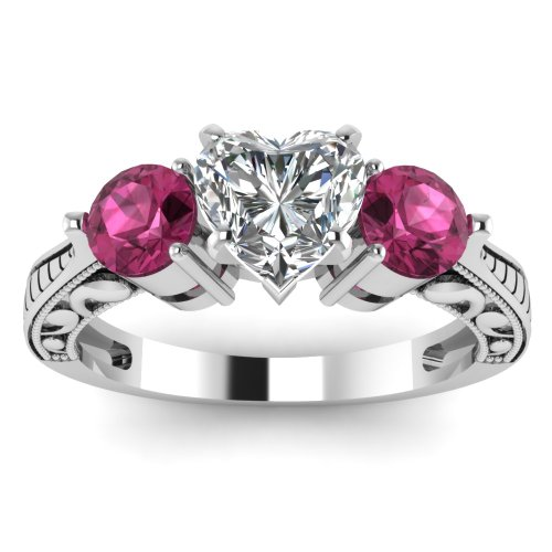 1.10 Ct Heart Shaped Diamond & Pink Sapphire 3 Stone Engagement Rings 14K Gold GIA (E Color, I1 Clarity) Price:$2,299.99