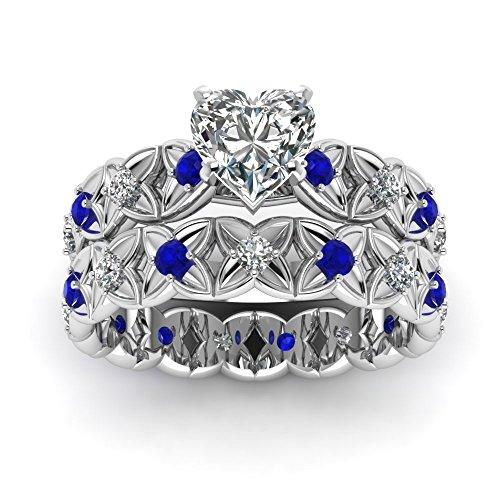 Pave Women Wedding Rings Set 0.90 Ct Heart Shaped Diamond & Blue Sapphire 14K GIA (J Color,VVS2 Clarity)