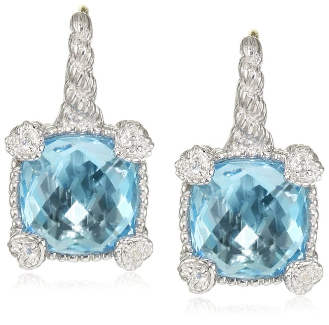 "Judith Ripka ""Linen"" Blue Topaz Small Cushion Stone Earrings"