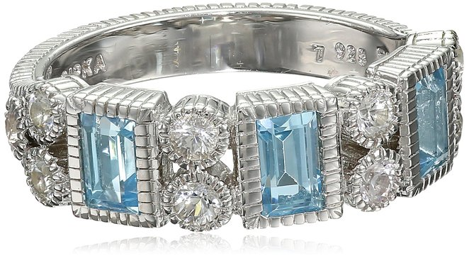 "Judith Ripka ""Estate"" Sterling Silver Baguette Ring with Blue Topaz and White Sapphires"