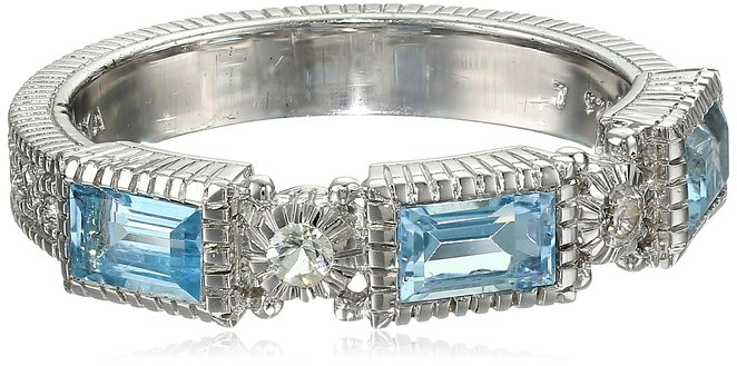 Estate Sterling Silver, Blue Topaz, and White Sapphire Ring