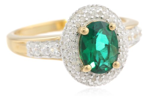 Sterling Silver with Yellow Gold Flash Plating Oval Created Emerald with Round Created White Sapphire Diamond Ring