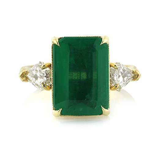 6.35ct Emerald and Diamond Three-Stone Ring From Mark Broumand