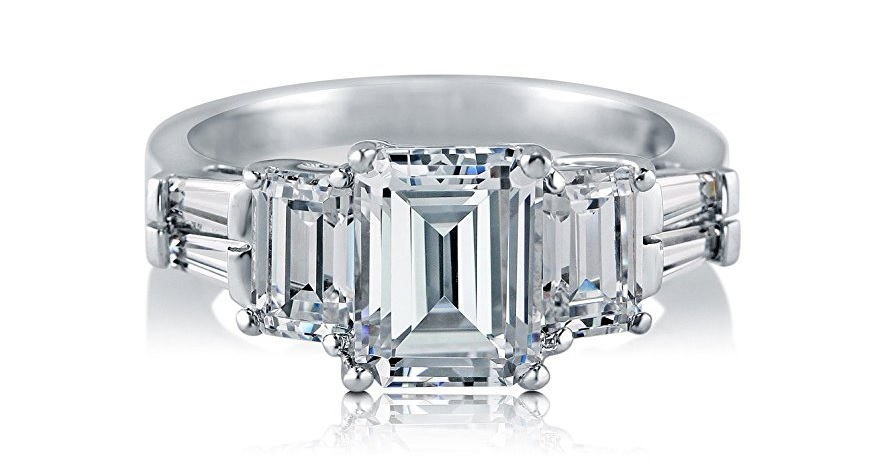 Sterling Silver 3.89 ct.tw Emerald Cut Cubic Zirconia CZ 3 Stone Engagement Wedding Ring