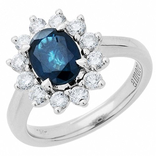 Amoro 18k White Gold Sapphire and Diamond Ring