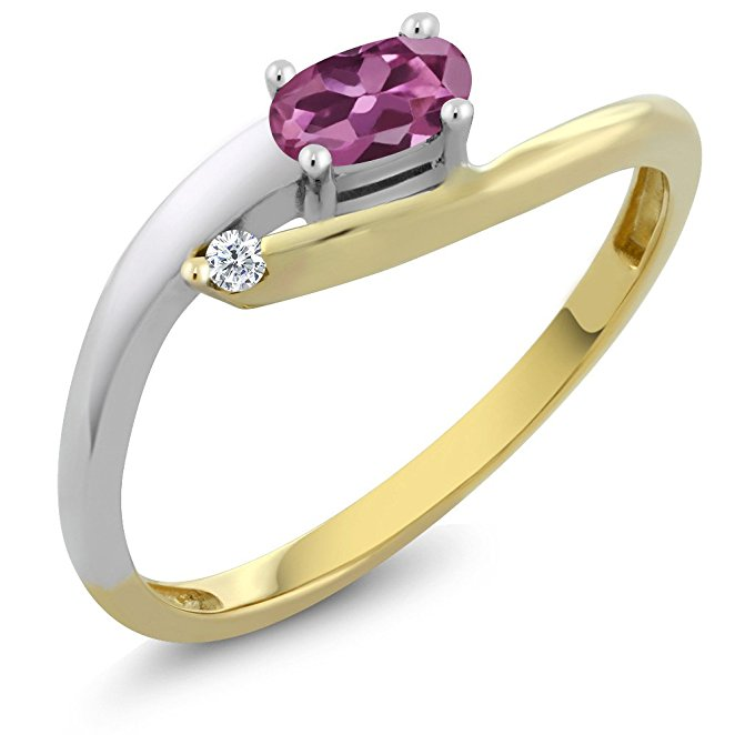 Gem Stone King Solid 18K 2-Tone White and Yellow Gold Natural Pink Tourmaline & White Diamond Women's Ring (0.25 cttw, Available in size 5, 6, 7, 8, 9)