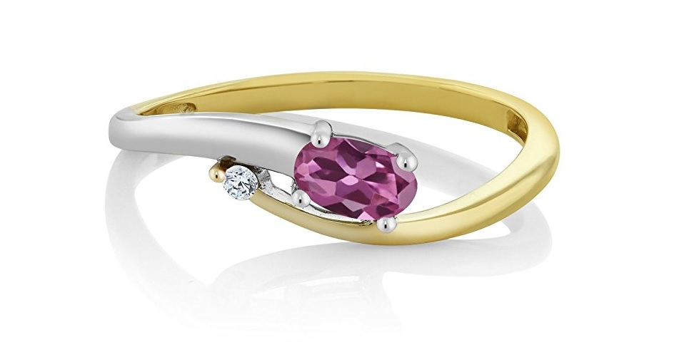 Solid 18K 2-Tone White and Yellow Gold Natural Pink Tourmaline & White Diamond Ring