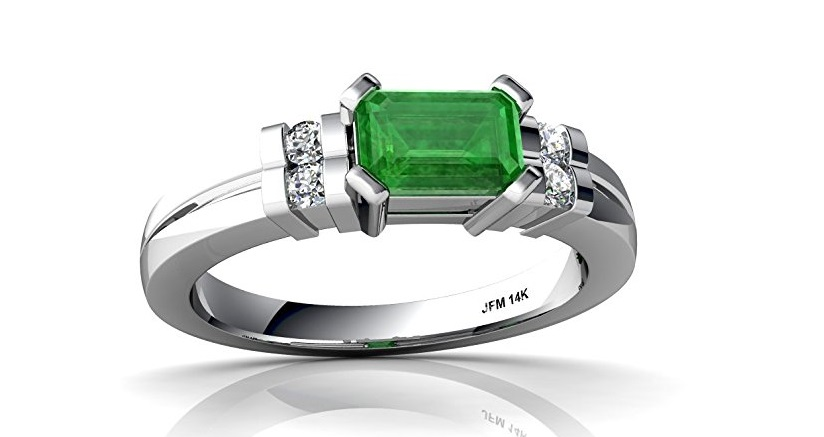 14k Gold Emerald and Diamond 6x4mm Emerald_Cut Art Deco Ring