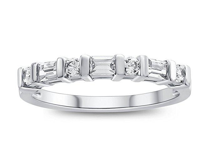 Created White Sapphire Band Ring Sterling Silver