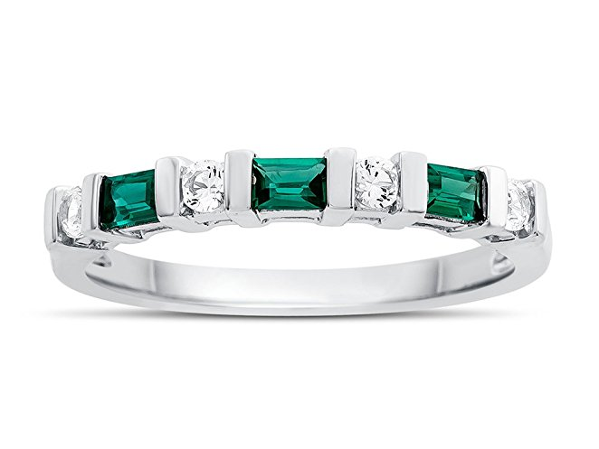 Created Emerald and Created White Sapphire Band Ring