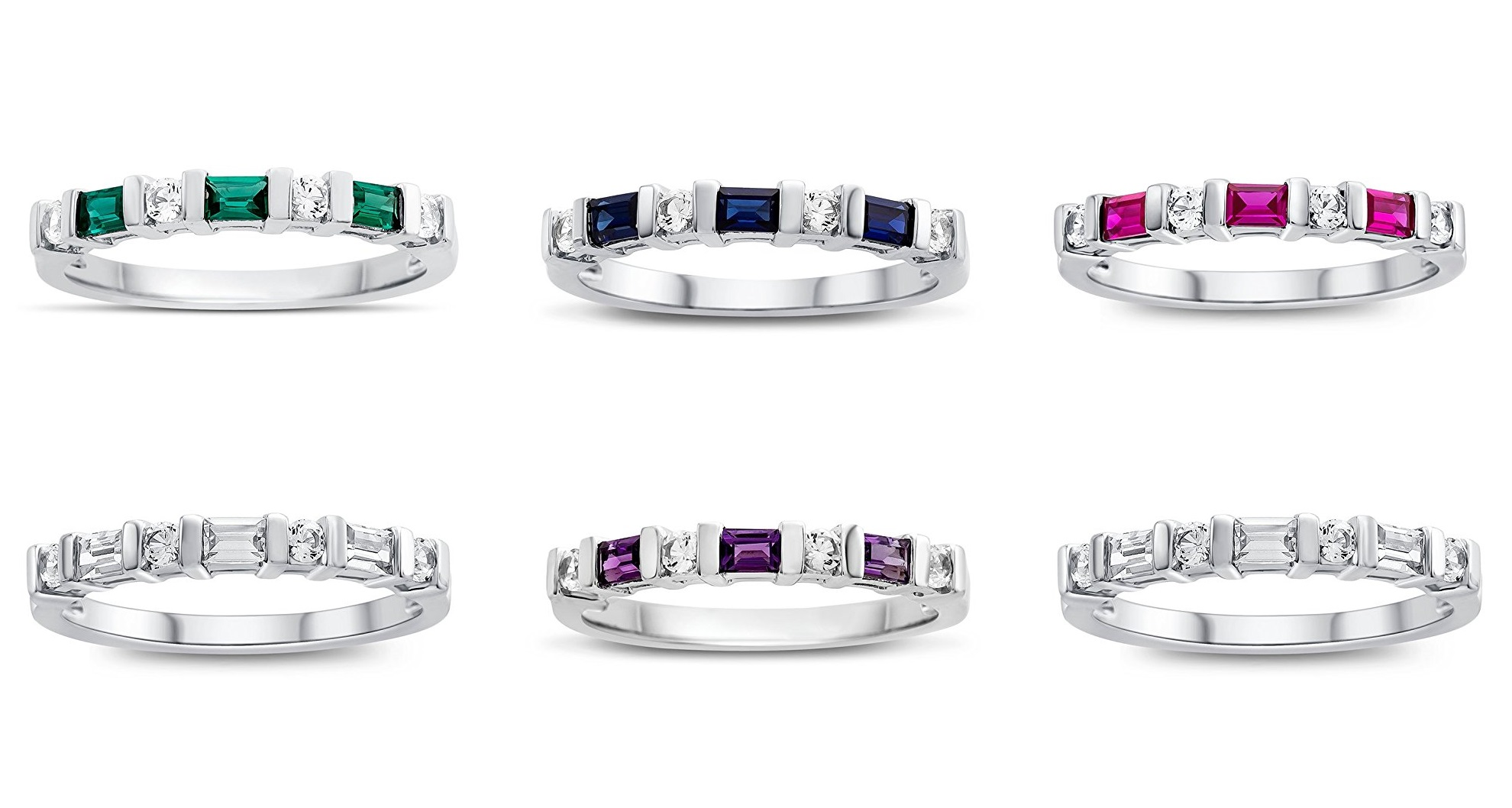 3x2mm Created Gemstone and Created White Sapphire Band Ring