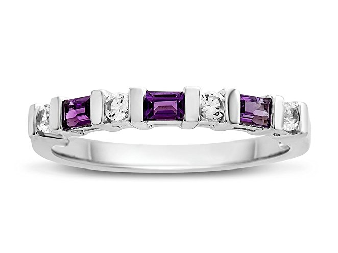 Amethyst and Created White Sapphire Band Ring Sterling Silver