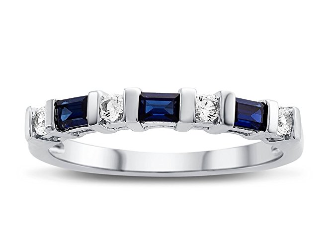 Created Sapphire and Created White Sapphire Band Ring