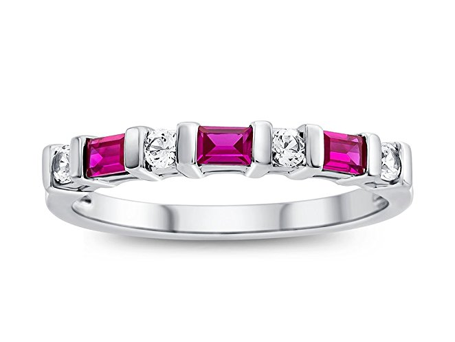 Created Ruby and Created White Sapphire Band Ring