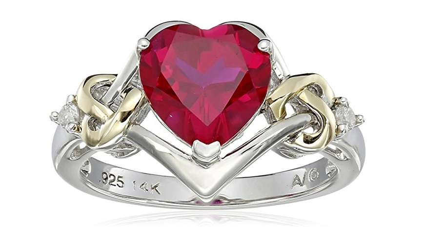 Sterling Silver and 14k Yellow Gold Diamond and Heart Shaped Created Ruby Ring