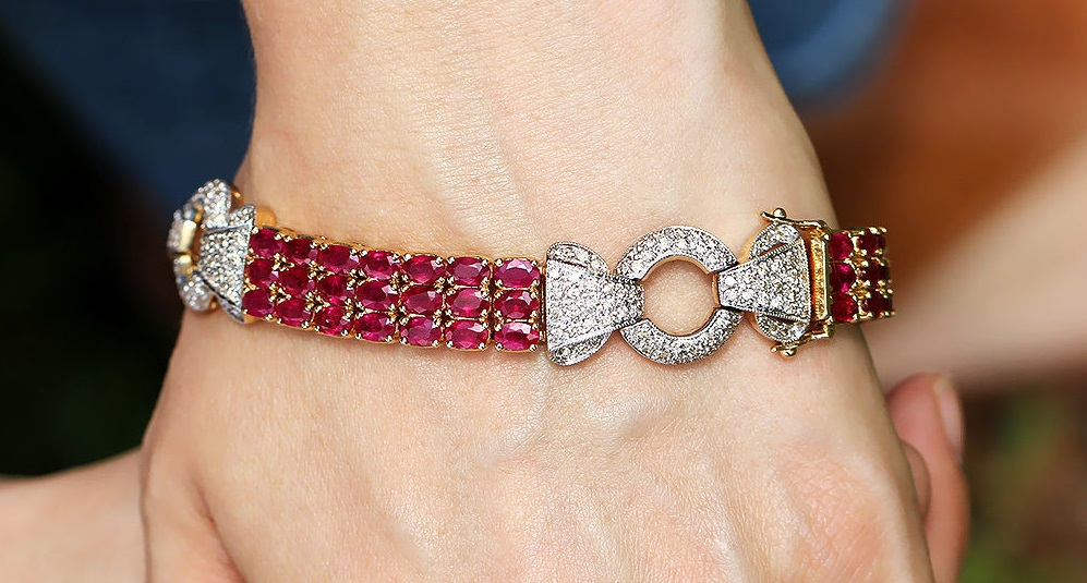 Vintage Ruby Link Bracelet with Diamonds in 14K Two Tone Gold 19.50 cwt