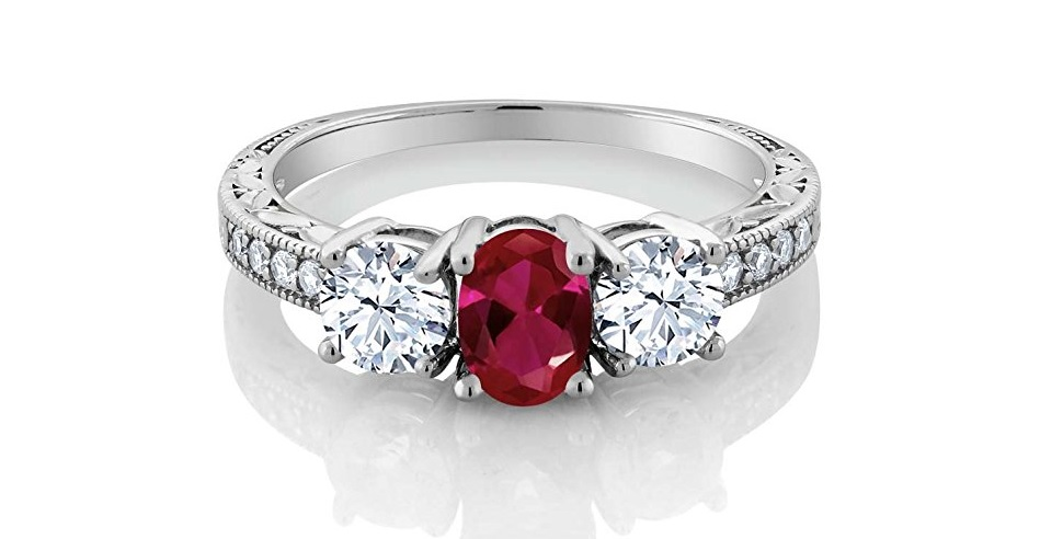 2.52 Ct Oval Red Created Ruby 925 Sterling Silver Women's 3-Stone Engagement Ring