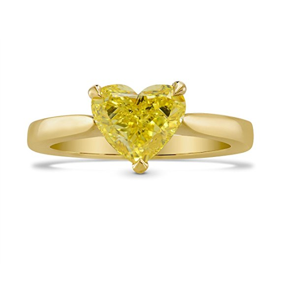 1.39Cts Yellow Diamond Engagement Solitaire Ring Set in 18K Yellow Gold GIA