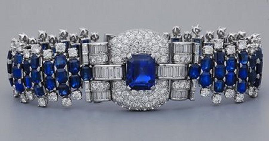 Art Deco Ceylon Sapphire & Diamond Bracelet, 1920's.
