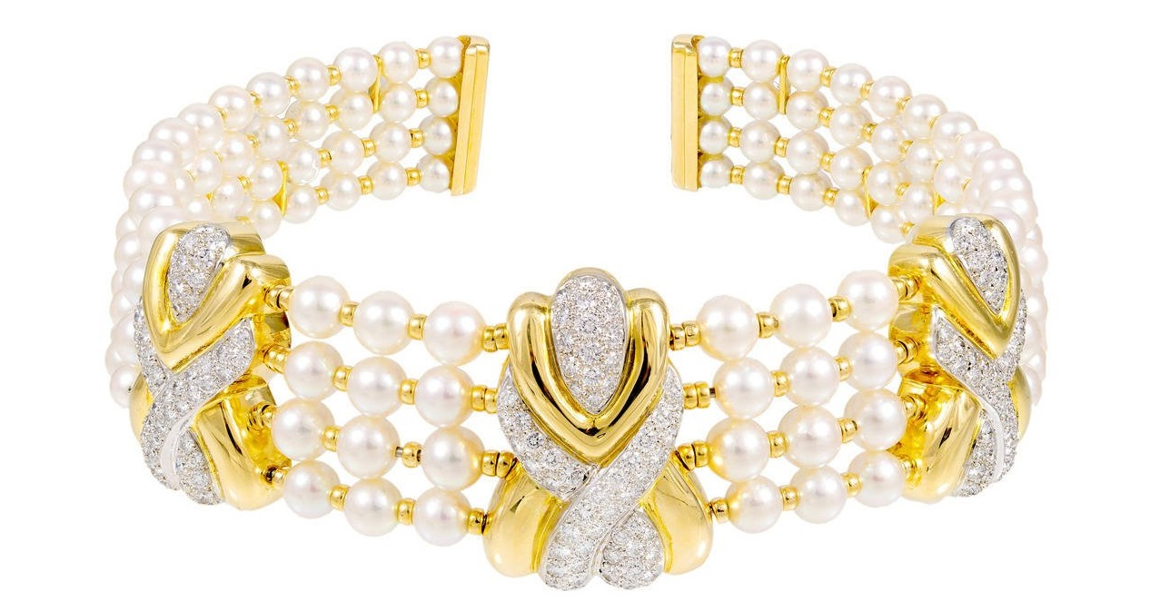 4 Row Pearl Diamond Yellow Gold Collar Necklace