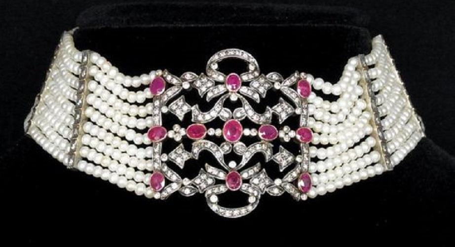 Antique Edwardian Necklace Choker Diamonds Rubies Pearls 18k Gold Silver