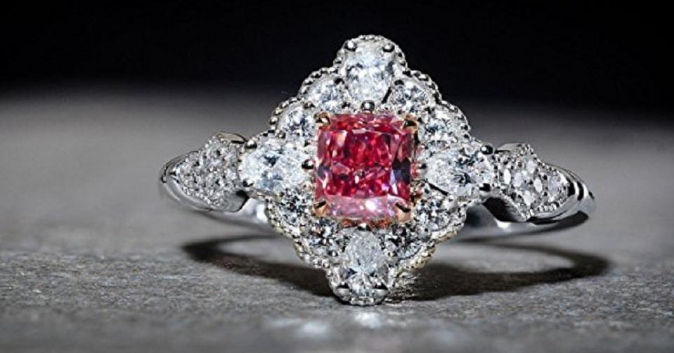 Leibish & Co 0.84Cts Pink Diamond Extraordinary Ring Argyle Set in 18K White Rose Gold GIA