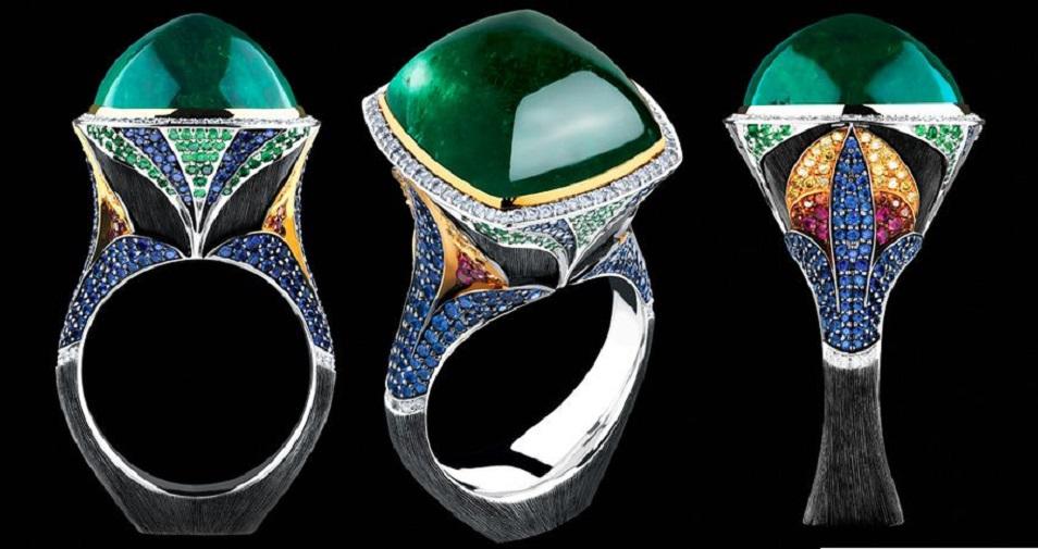 18K white gold emerald diamonds rubies tsavorites ring