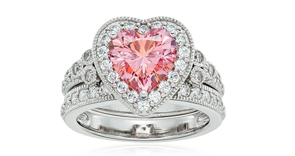 Platinum Plated Sterling Silver Swarovski Zirconia Fancy Color antique style two –piece heart ring set
