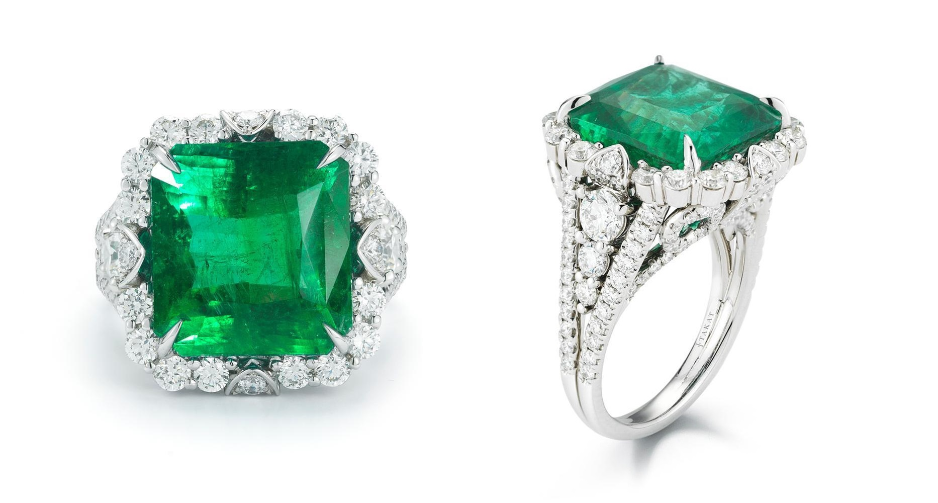 atural 13.11 ct Magnificent EMERALD AND DIAMOND White Gold 18K RING / GIA