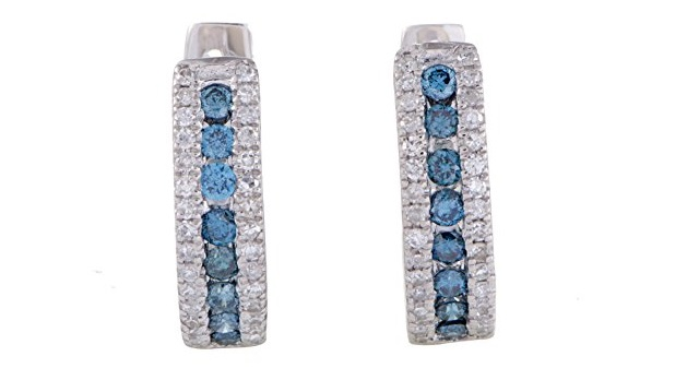 14K White Gold White Diamond and Blue Diamond Tiny Round Hoop Earrings