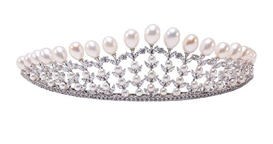 Natural White Oval Freshwater Pearl Crown Tiara Bridal Wedding Tiara