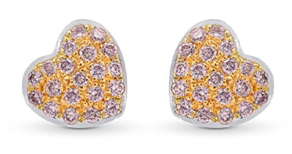 Pink Diamond Pave Earrings Set in 18K White Gold