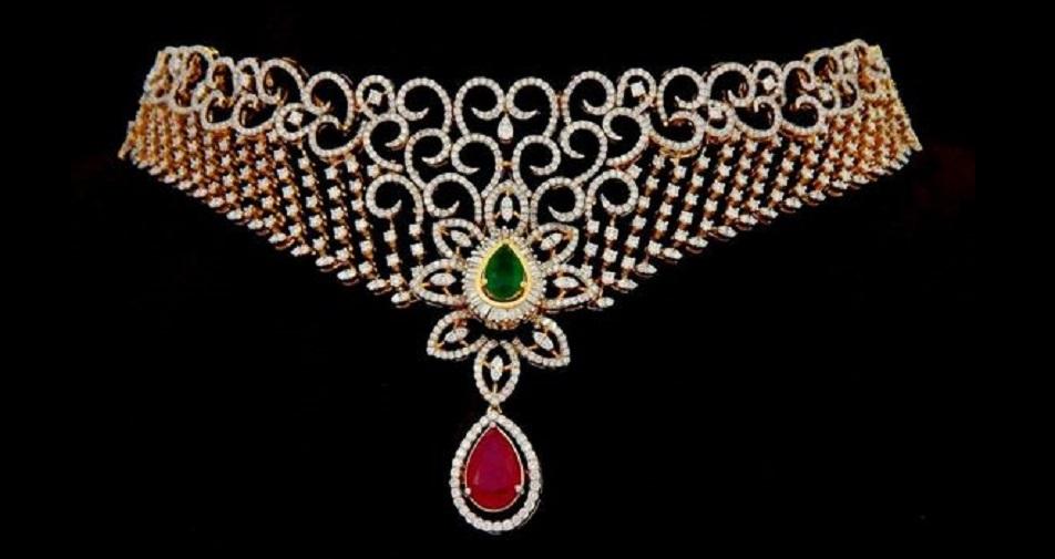 Emerald, Ruby and Diamond Choker Necklace