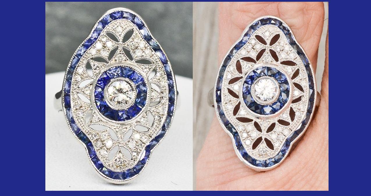 18k White Gold 1.76ctw Genuine Diamond & Sapphire Filigree Ring