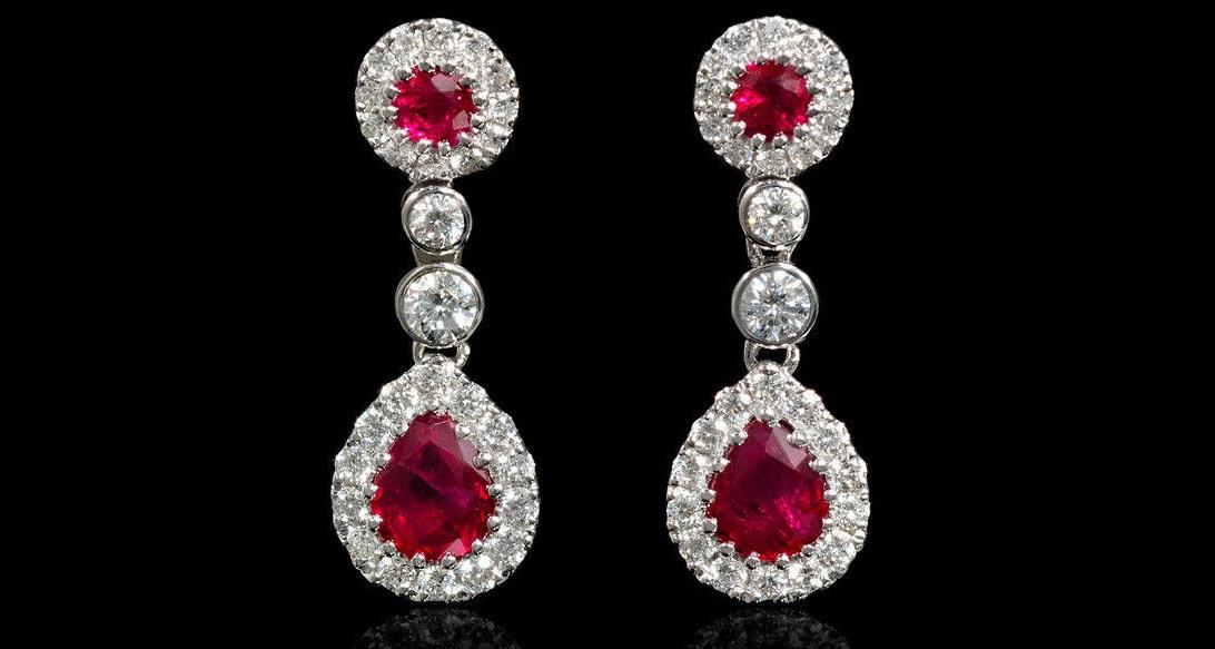 Diamond and Ruby 18k White Gold Dangle Earrings