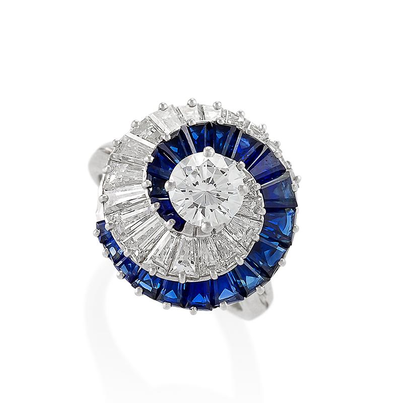 Cartier Mid-20th Century Diamond and Sapphire Swirl Ring