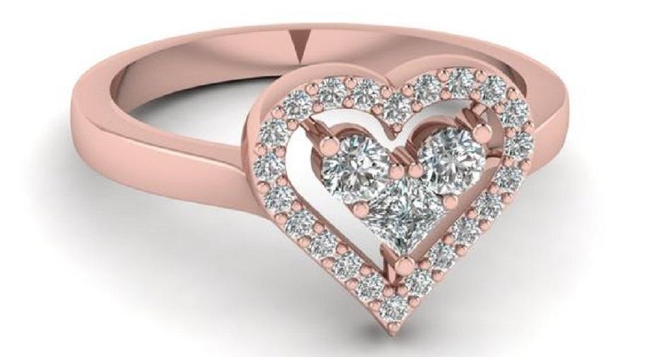 Heart Design Diamond Promise Ring